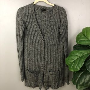 Burberry Silk Wool Grey Button Down Pocket Sweater
